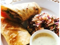 Chicken roti wrap with salad green and tartar sauce